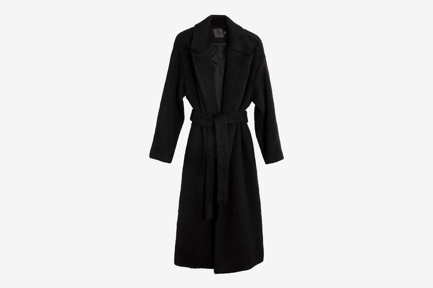 No.6 Black Mohair Ingrid Wrap Coat