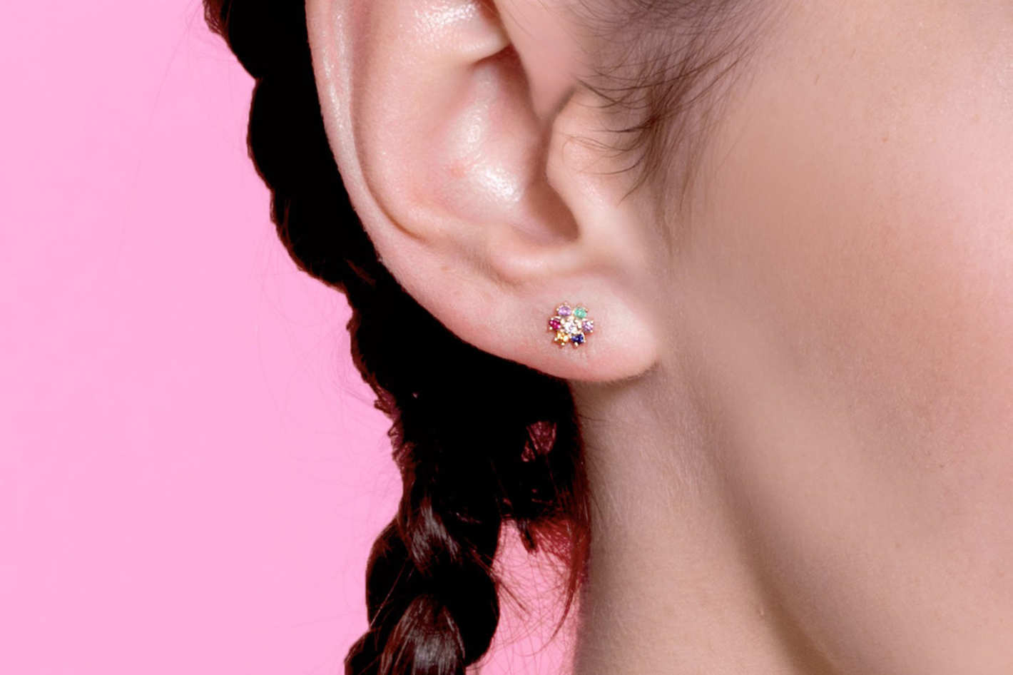The Last Line Mini Rainbow Flower Stud