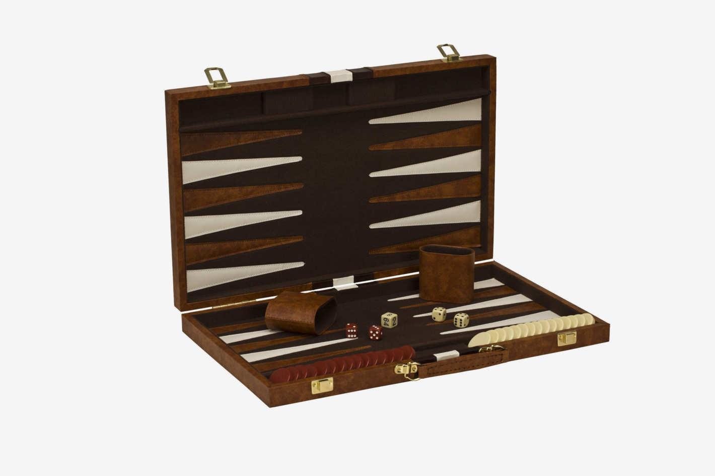 Classic Brown & White Backgammon Set
