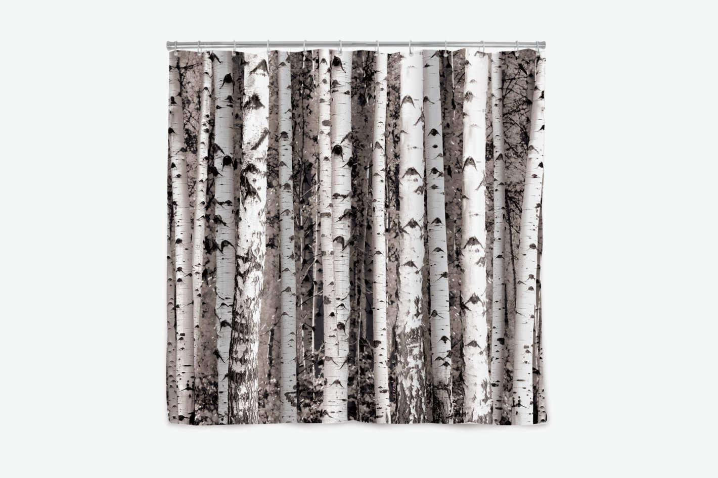Kikkerland Birch Tree Shower Curtain