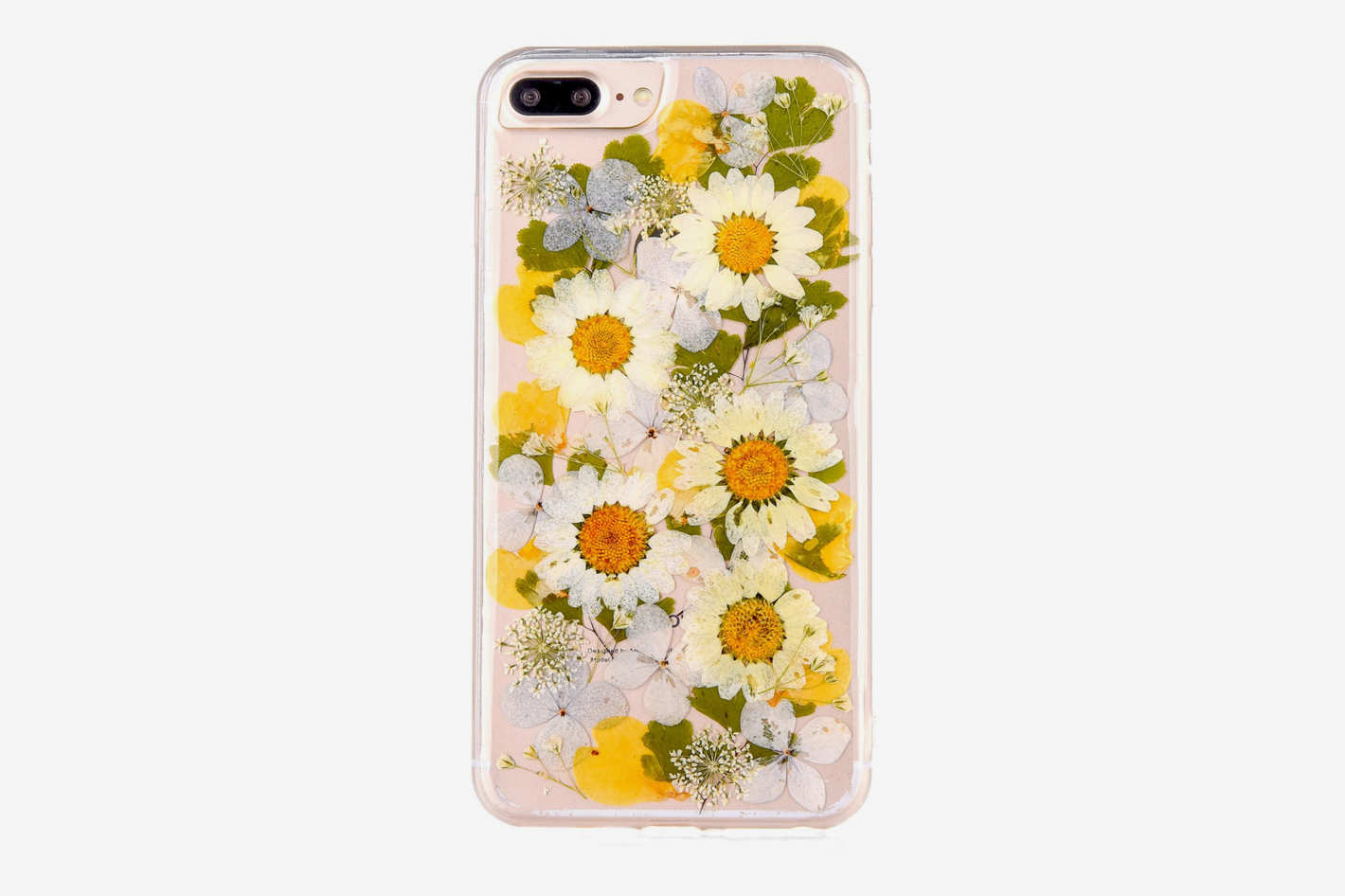 Real Flower Case for iPhone 7 Plus, Elegant TIPFLY Soft Silicone iPhone 8 Plus Cover with Handmade Pressed Dried Flowers