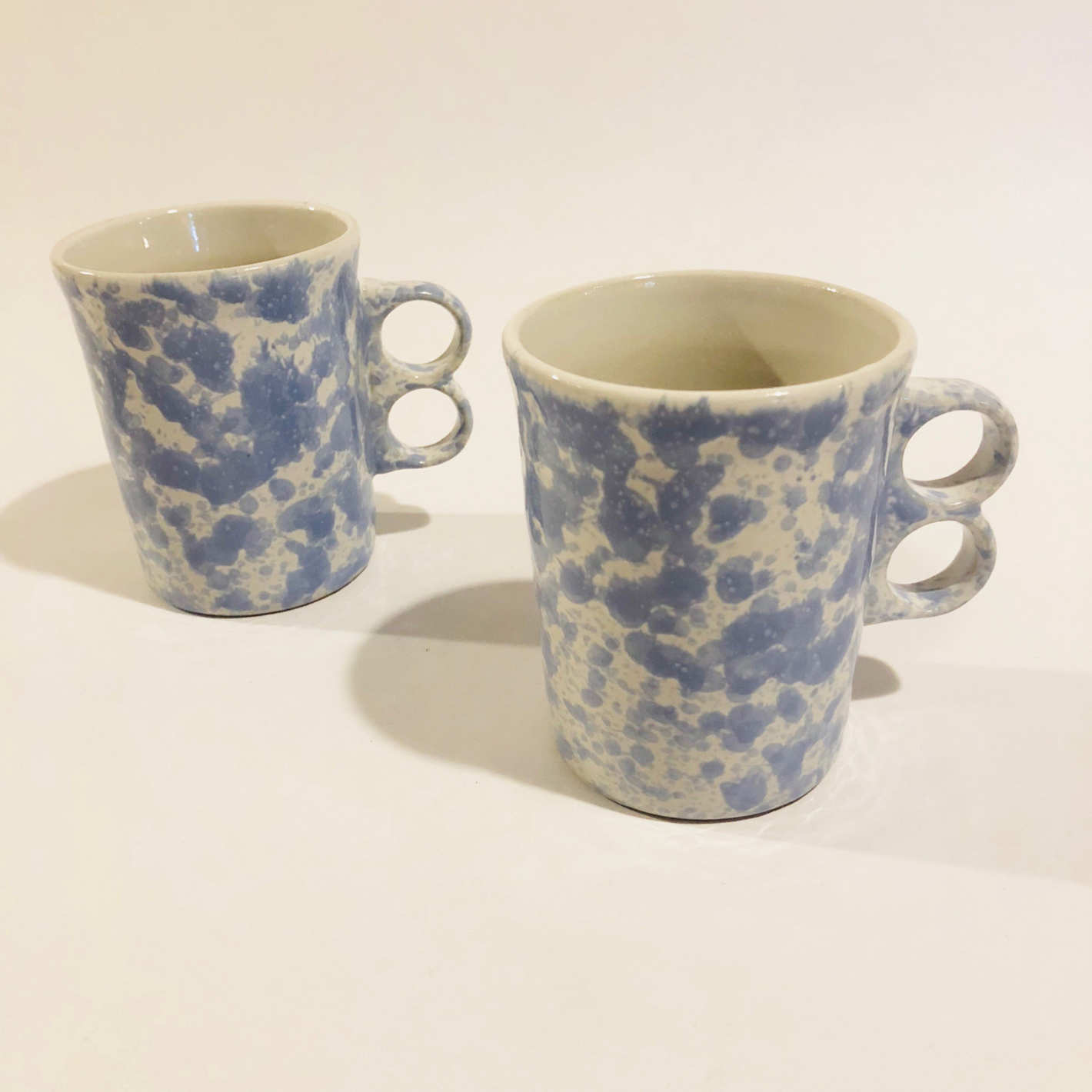 Bennington Potters Vermont Agate Morning Glory Blue Trigger Mugs