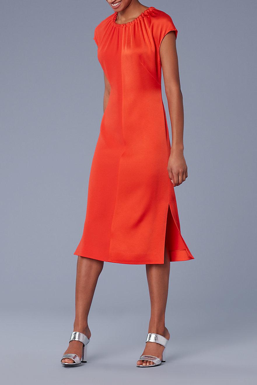 Diane von Furstenberg Short-Sleeve Pintucked Color Block Dress