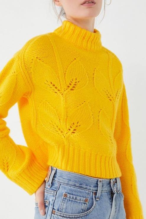 UO Botanical Embroidered Turtleneck Sweater