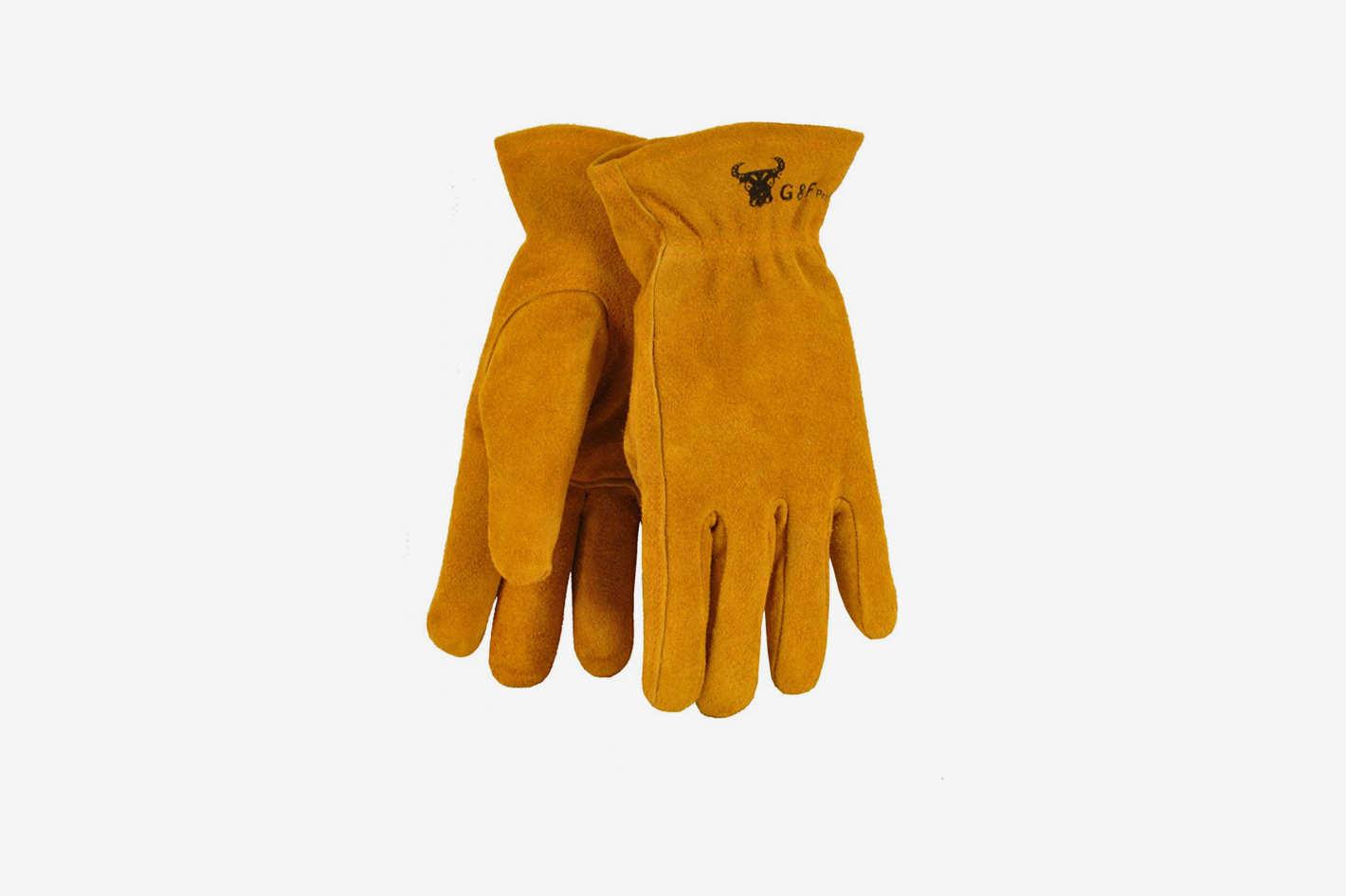 G & F 5013L JustForKids Kids Genuine Leather Work Gloves, Kids Garden Gloves