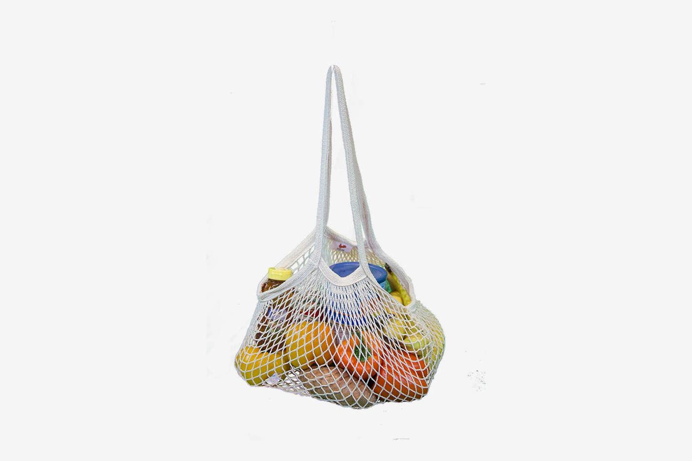 EuroSac Natural Cotton String Bag (3, Long Handle)