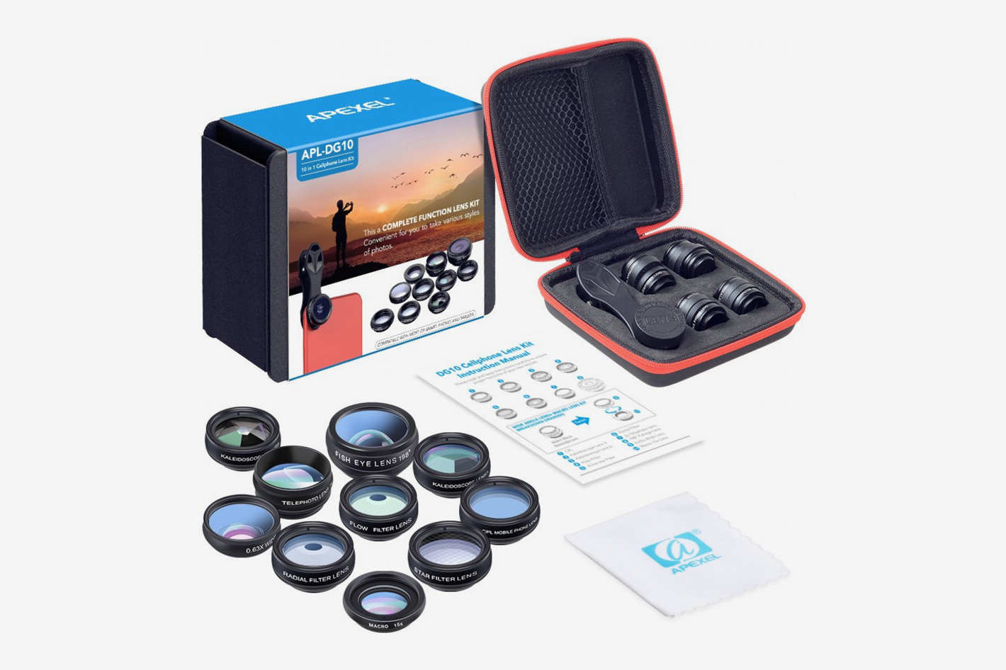 Apexel 10-in-1 Cell Phone Camera Lens Kit