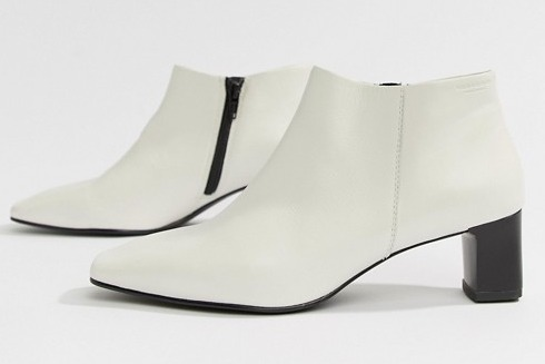 Vagabond Ebba White Leather Ankle Boot with Narrow Heel