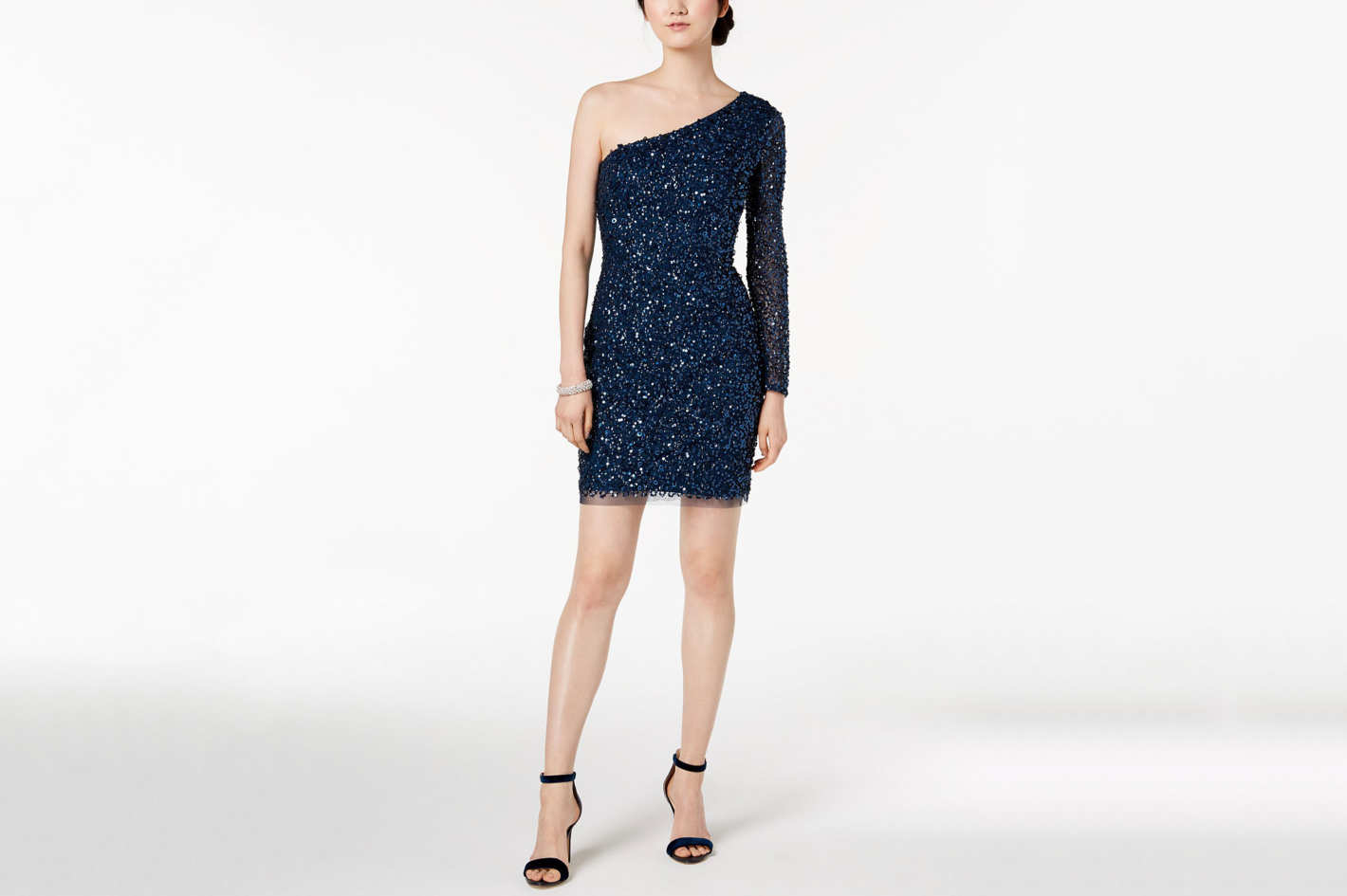 Adrianna Papell One-Shoulder Sequin Dress