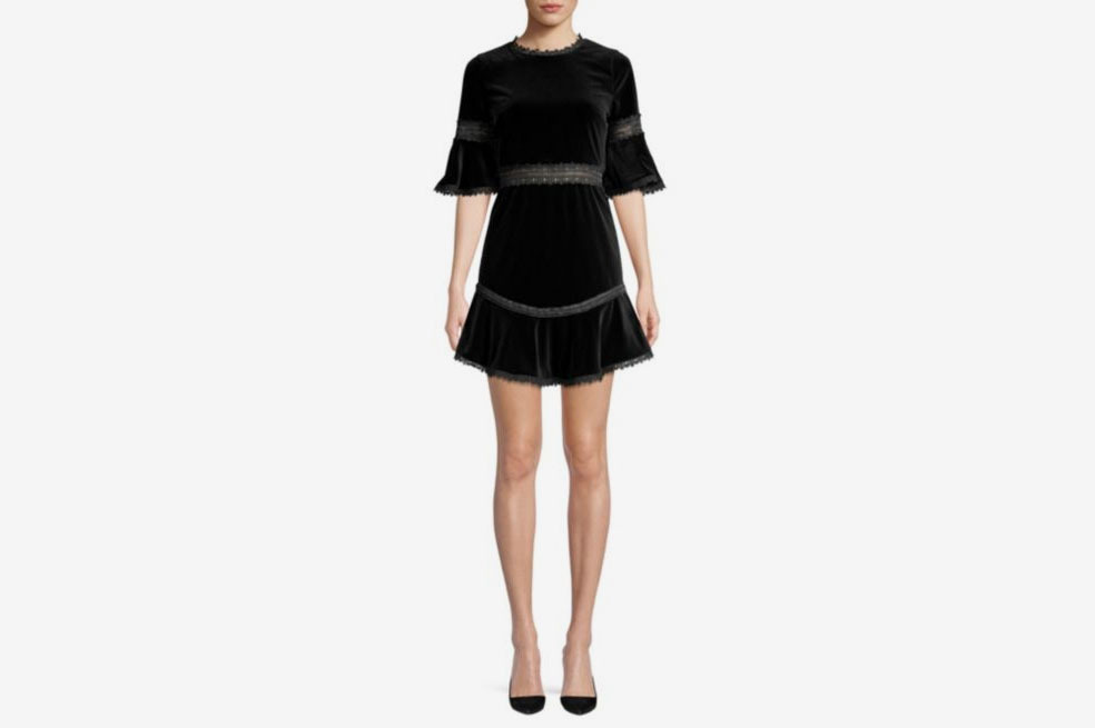 Alice + Olivia Velvet Trumpet-Sleeve Dress