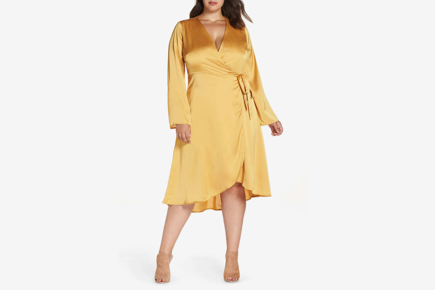 Lost Ink Satin Wrap Dress