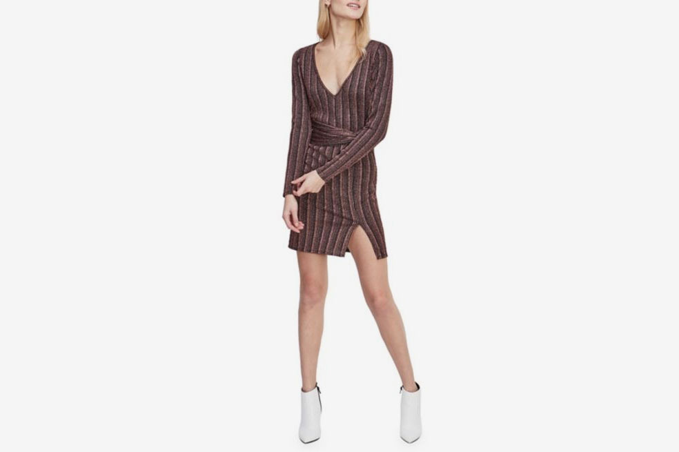 Miss Selfridge Striped V-Neck Bodycon Dress