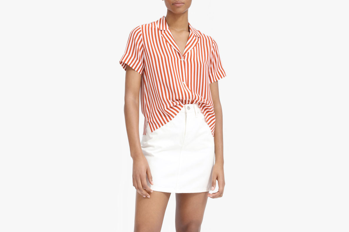 Everlane Clean Silk Short-Sleeve Notch Shirt