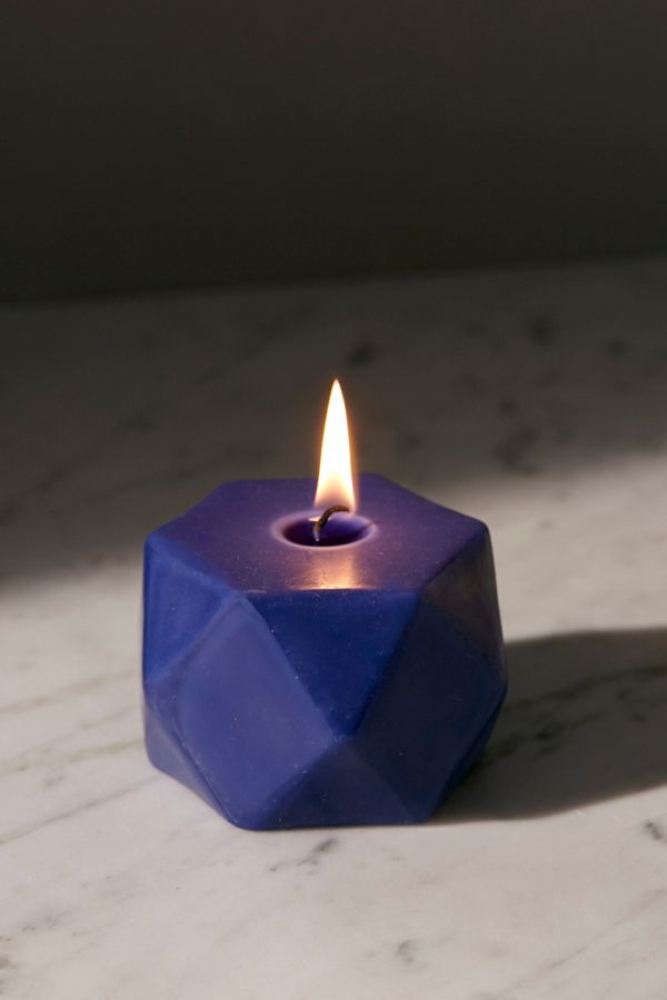 Short Faceted Pillar Candle