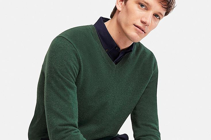 Men's Cashmere V-neck Long-Sleeve Sweater
