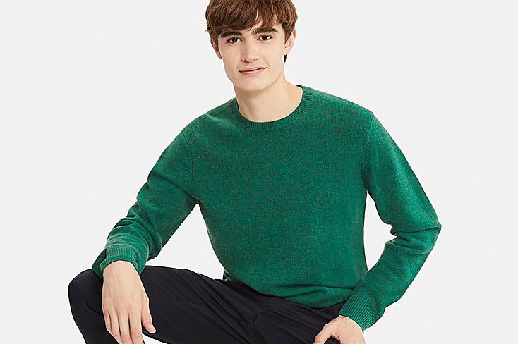 Men's Premium Lambswool Crew Neck Long-Sleeve Sweater
