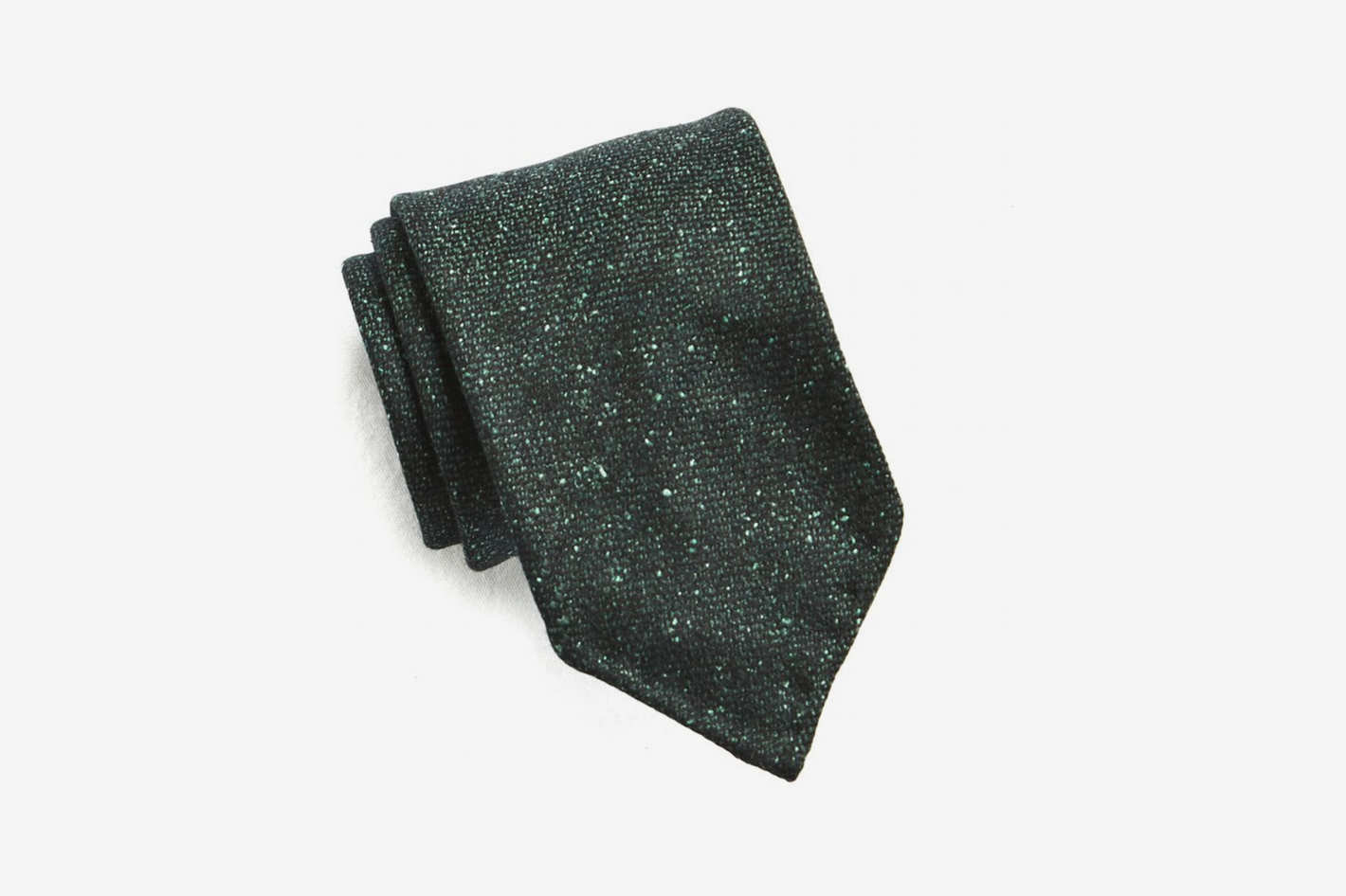 Drake's Green Speckled Wool and Silk Tie