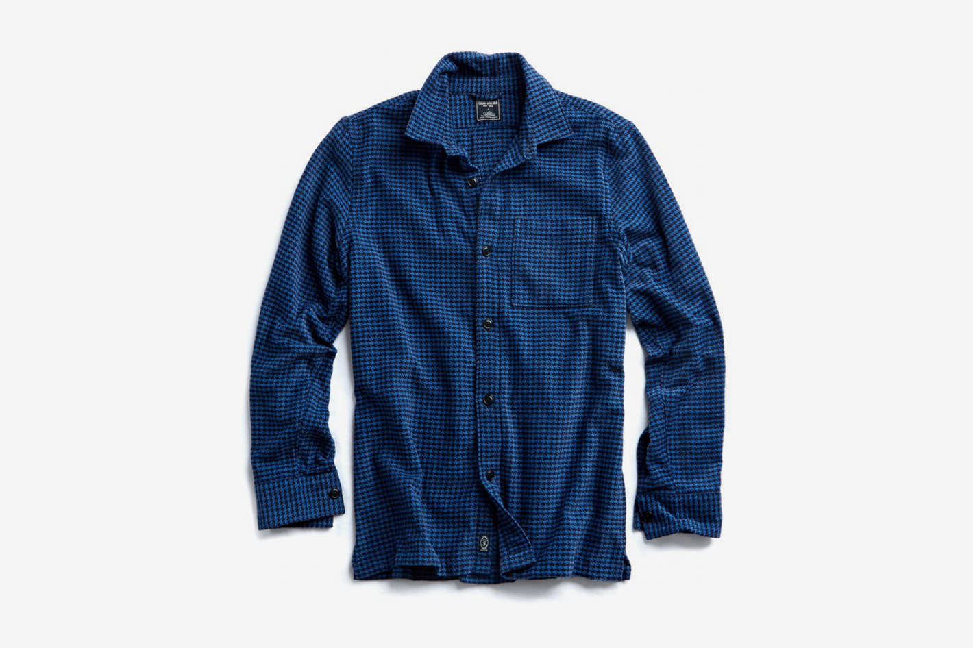 Houndstooth Shirt Jacket in Navy