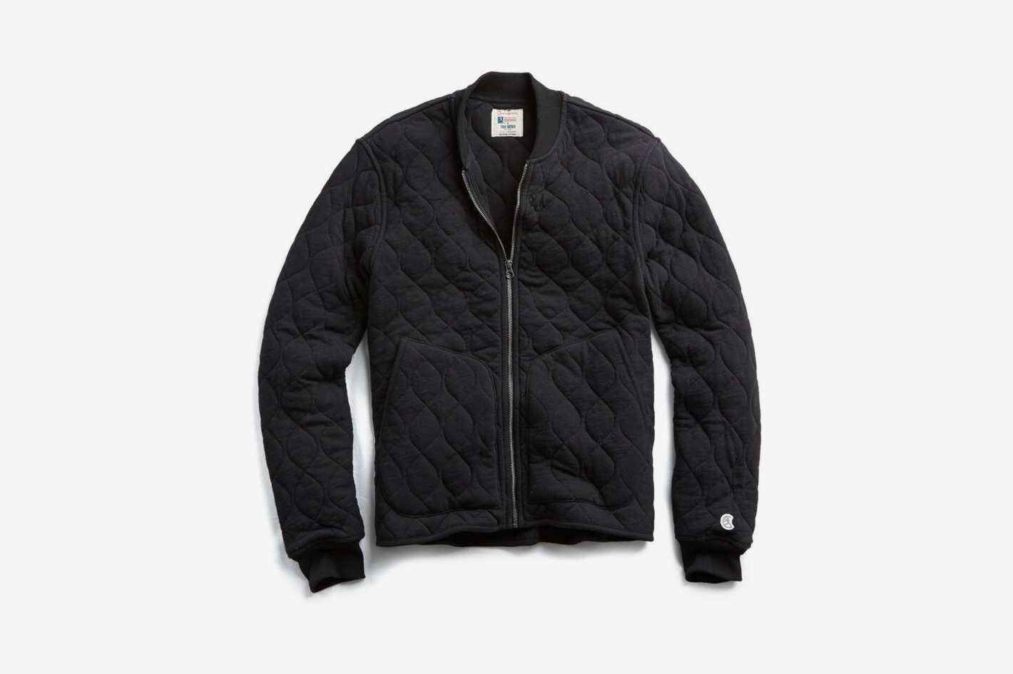 Todd Snyder + Champion Quilted Bomber in Black