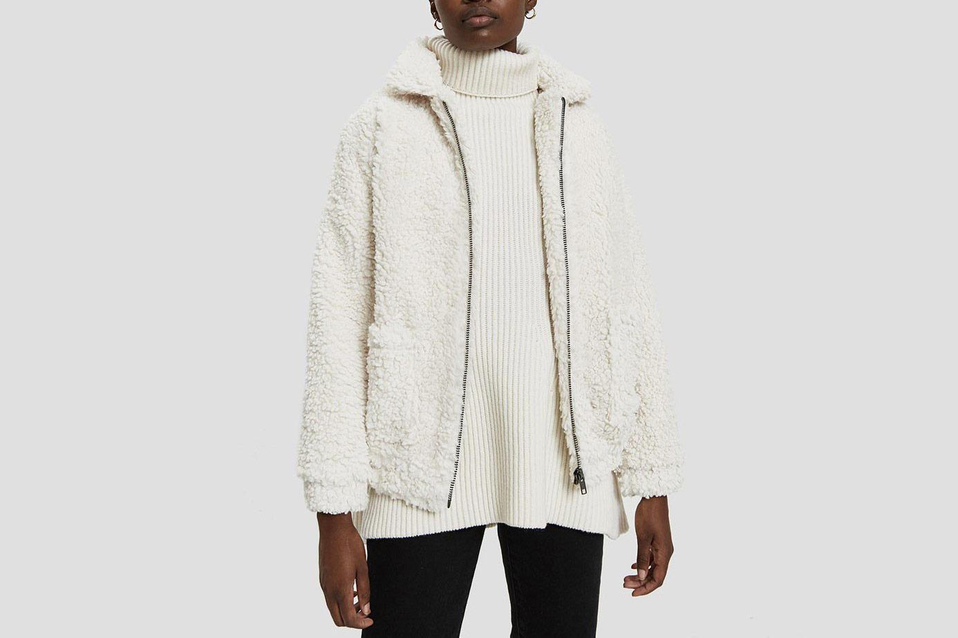 Farrow Vivienne Faux Sheepskin Jacket in Ivory