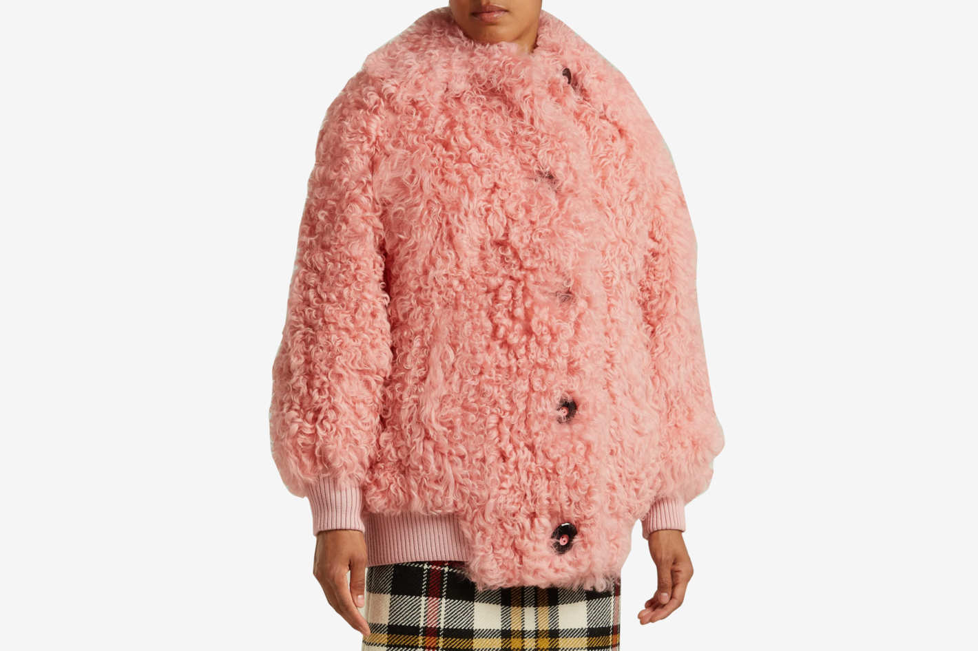 Miu MiuButton-front shearling bomber jacket