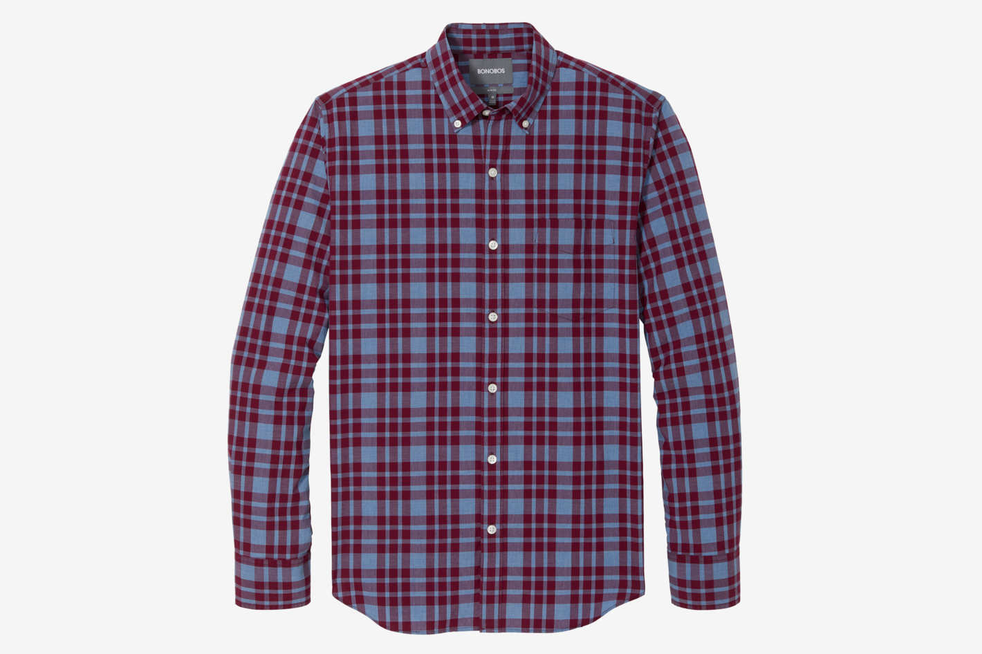 Men's Slim Fit Washed Button Down, Hardy Plaid