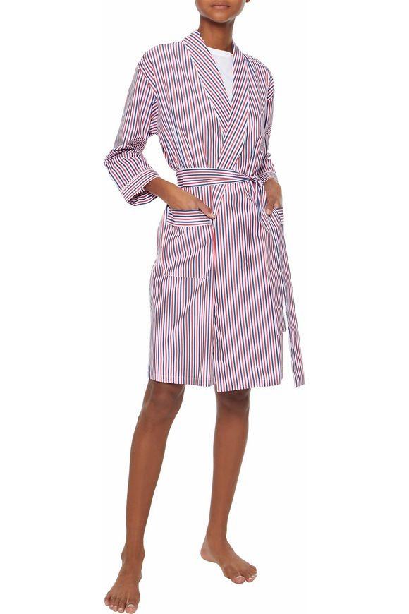 Sleepy Jones Striped Cotton-Poplin Robe