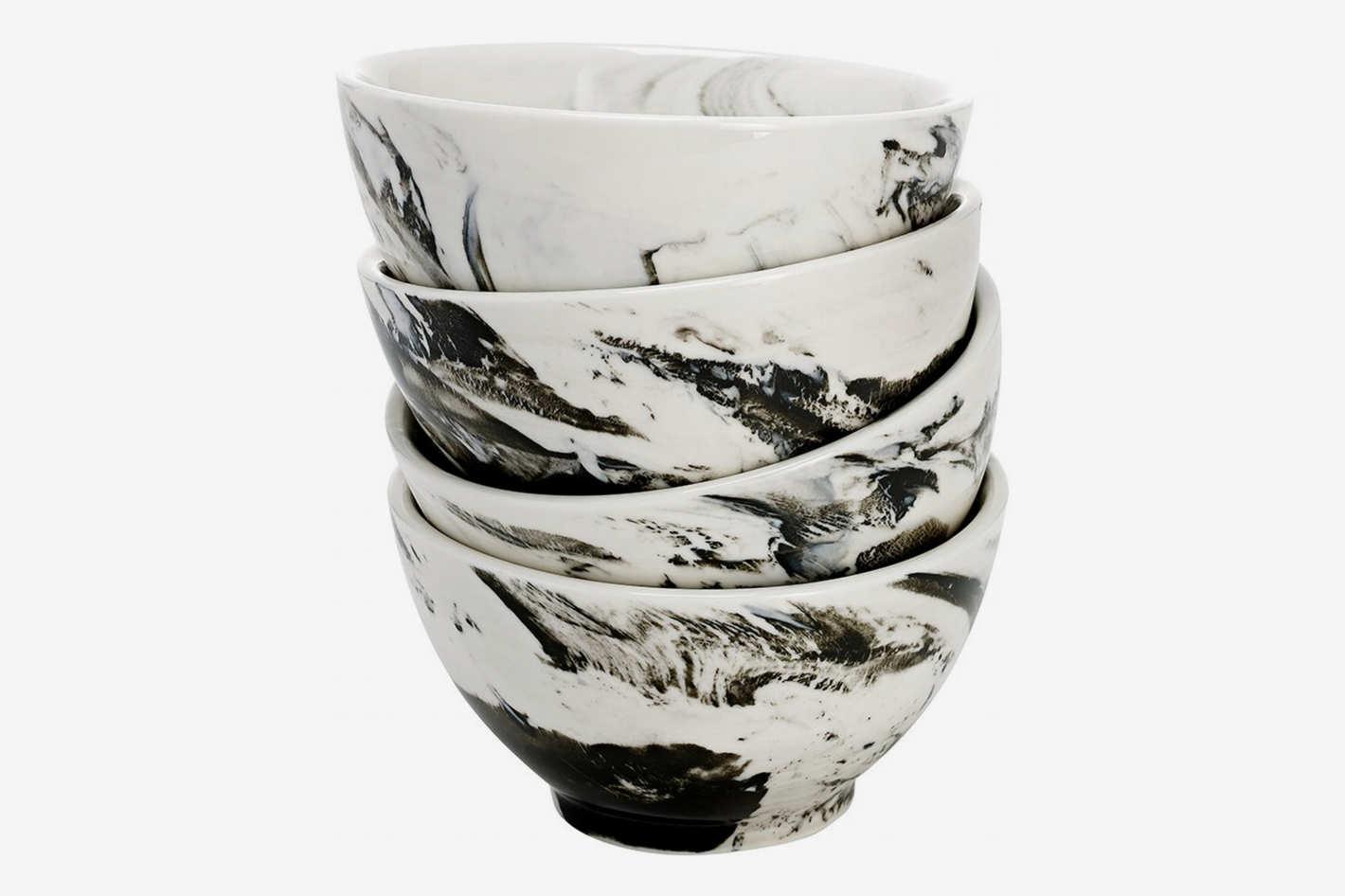 OverandBack Marble Finish Bowls, Set of 4