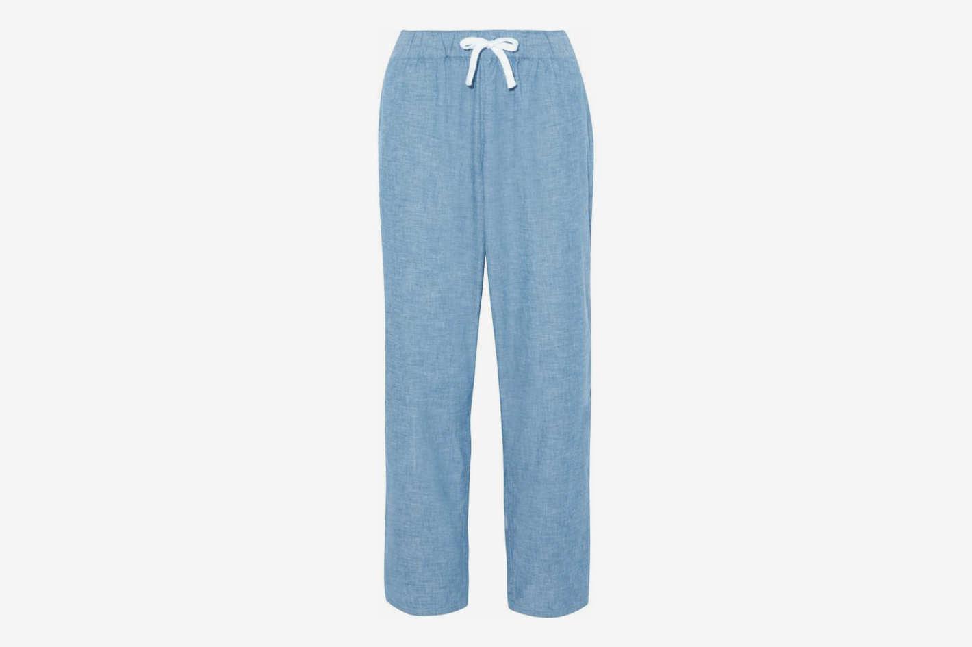 Cotton-Chambray Pajama Pants