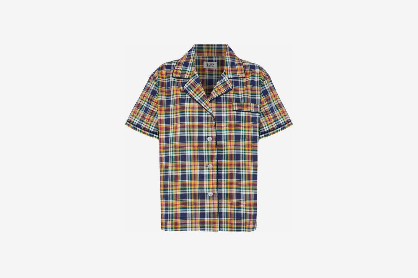 Checked Cotton-Poplin Pajama Top