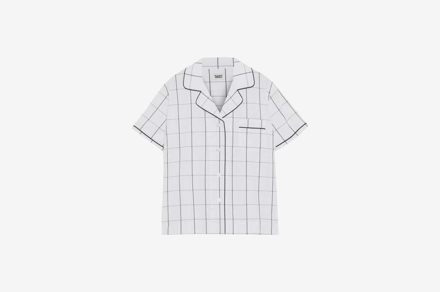 Corita Checked Cotton Pajama Top