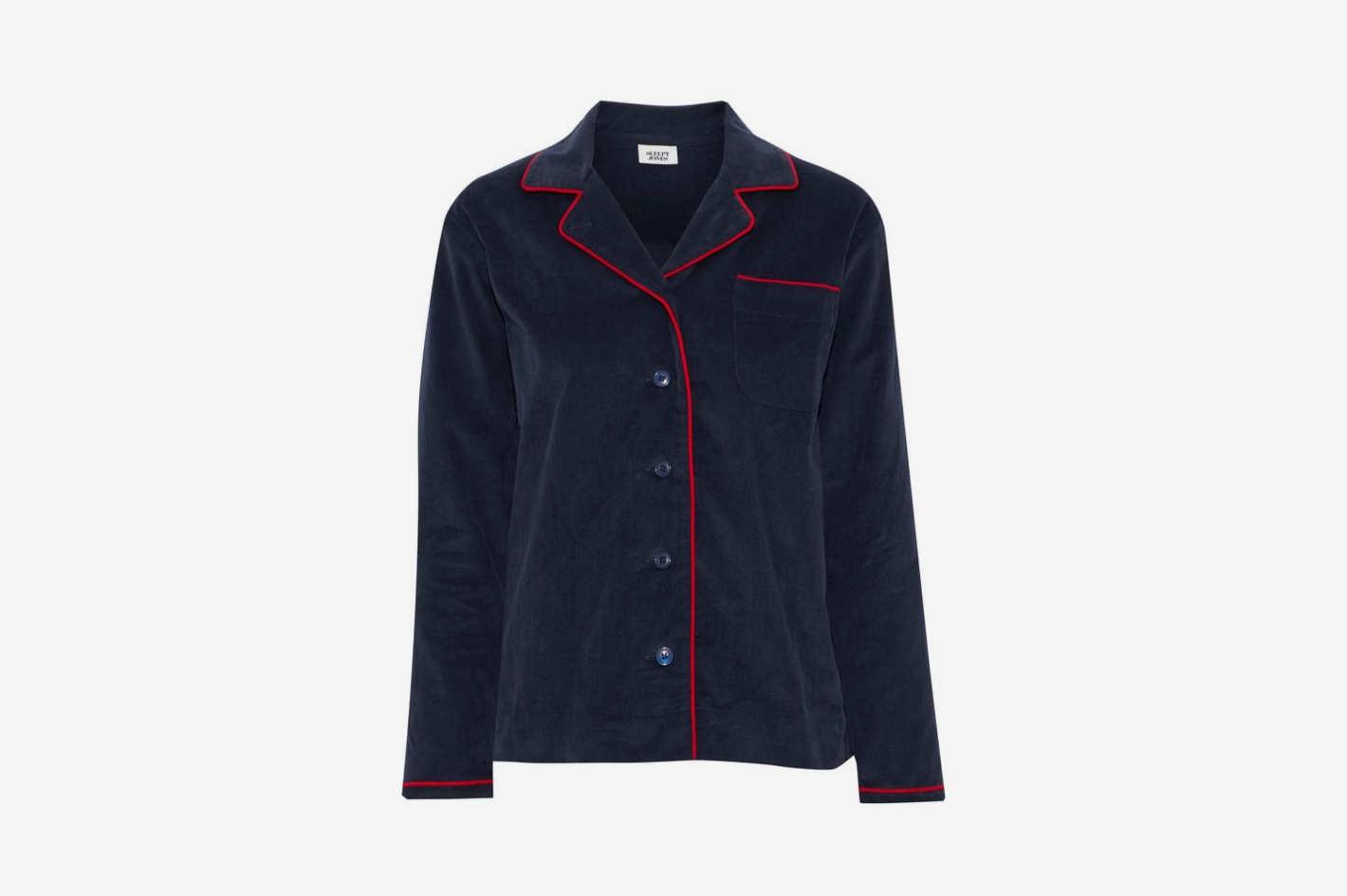 Cotton-Corduroy Pajama Shirt