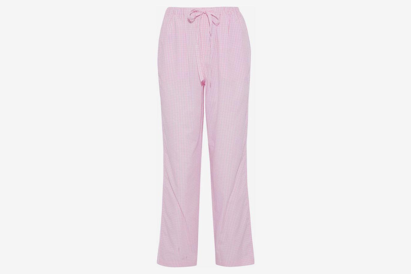 Gingham Cotton-Poplin Pajama Pants