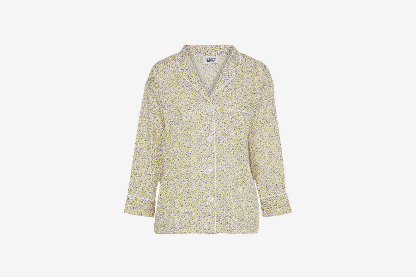 Marina Printed Cotton-Poplin Pajama Top