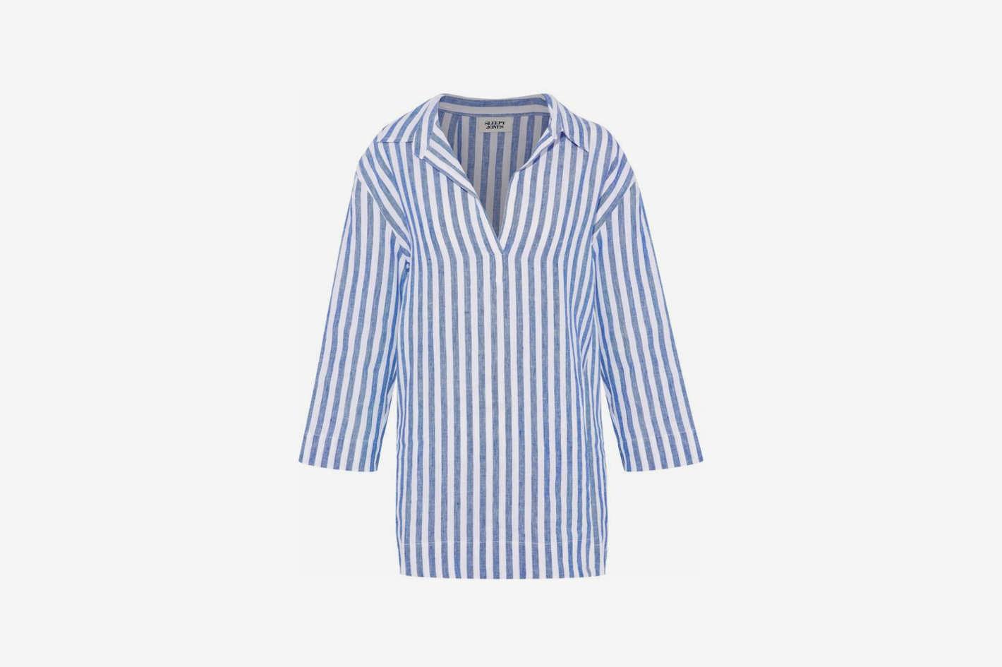 Striped Linen-Piqué Pajama Top