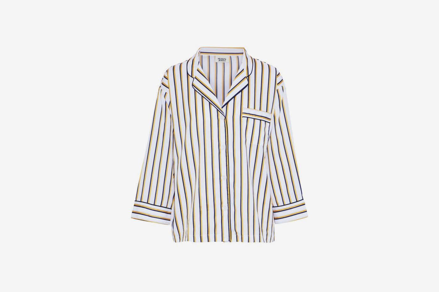 Marina Striped Cotton-Poplin Pajama Top