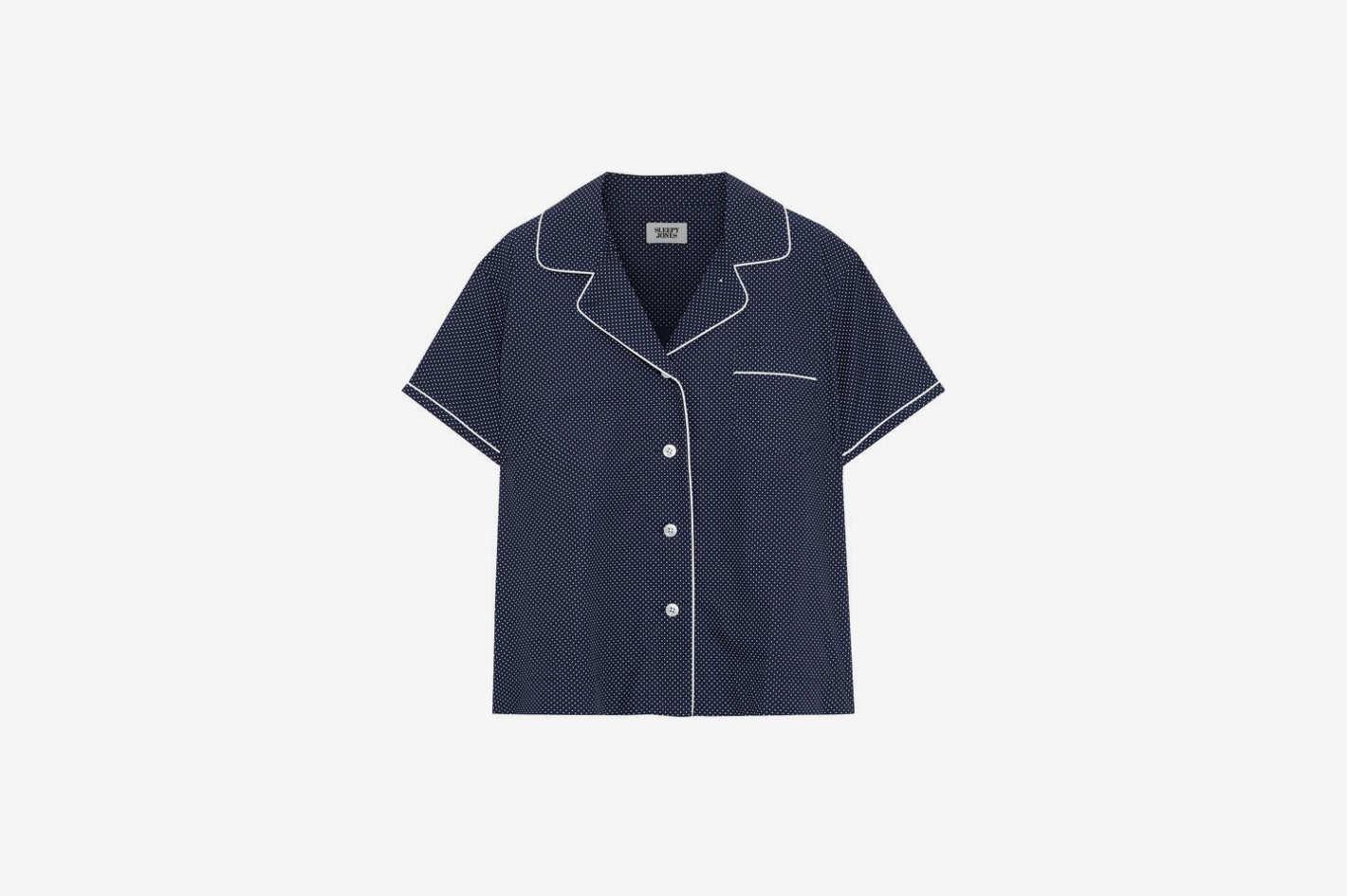 Corita Polka-Dot Cotton Pajama Top