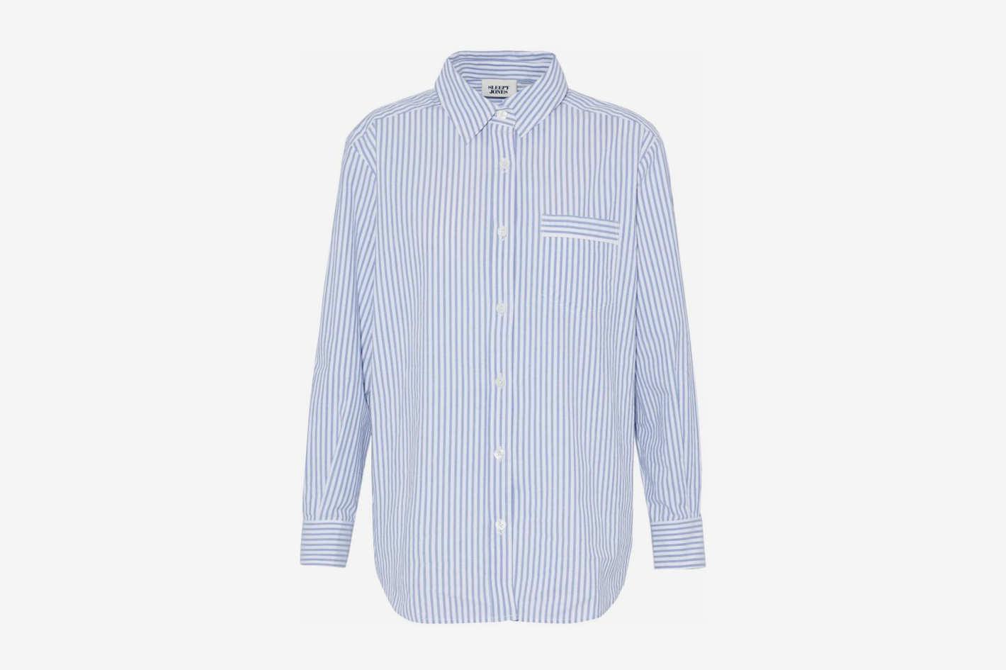 Striped Cotton-Poplin Nightshirt