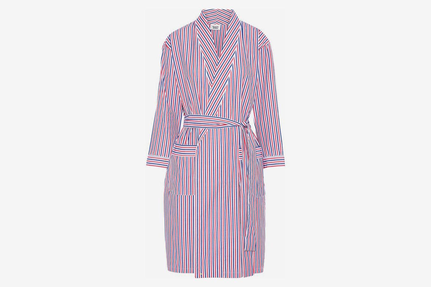 Striped Cotton-Poplin Robe