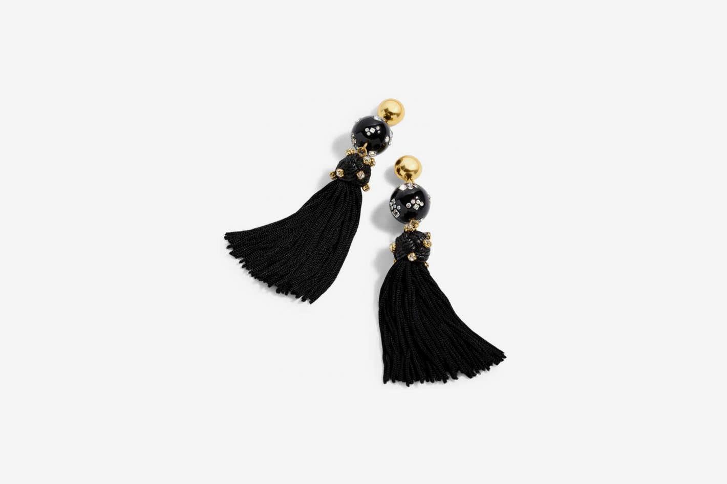 J. Crew Crystal Studded Bead & Tassel Earrings