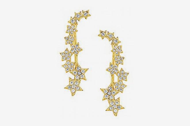 Sterling Forever Star Crystal Crawler Earrings