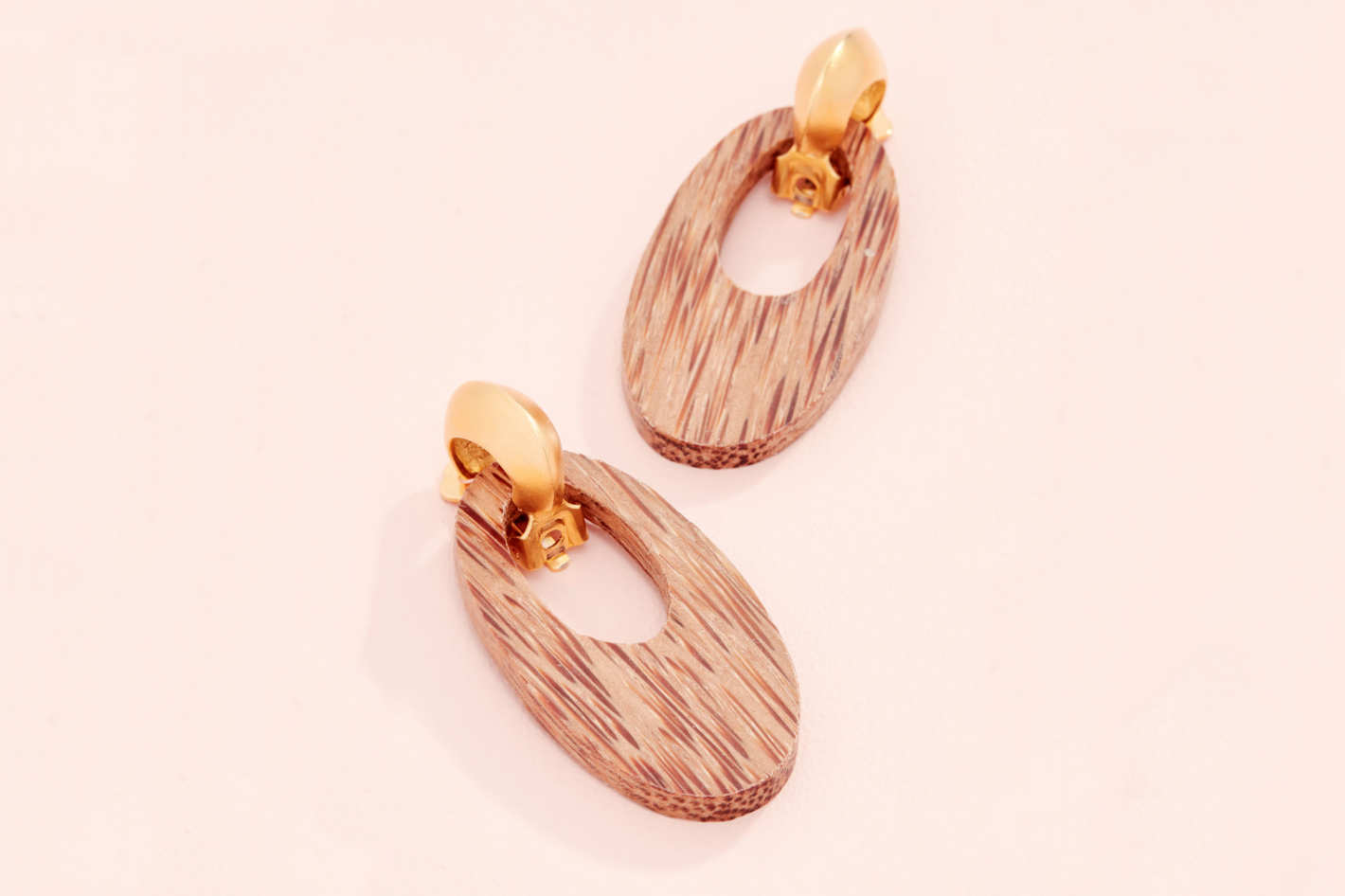 Kenneth Jay Lane Gold and Wood Drop Earrings