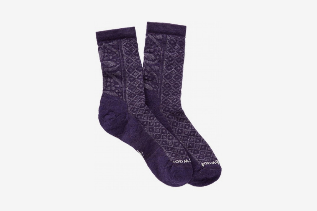 Womens Lily Pond Pointelle Wool Blend Crew Socks, Purple