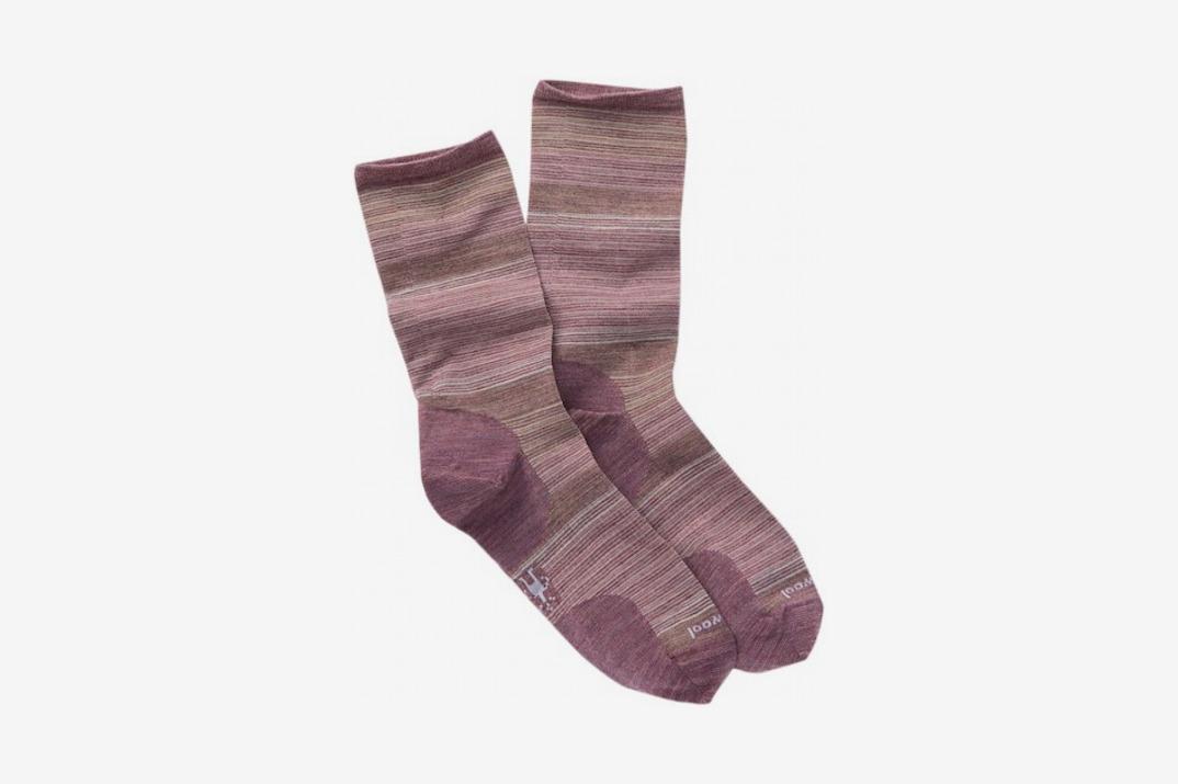 Womens Horizon Stripe Wool Blend Crew Socks, Rose
