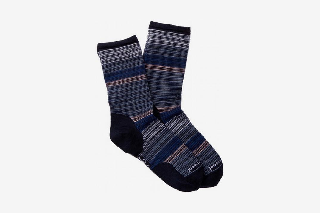 Womens Horizon Stripe Wool Blend Crew Socks, Navy