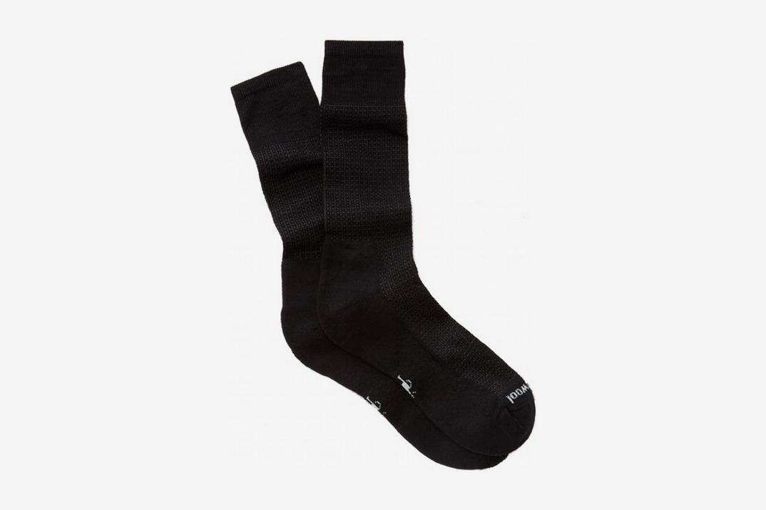 Mens Nailhead Grid Tall Crew Socks, Black