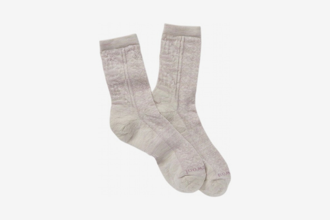 Womens Lily Pond Pointelle Wool Blend Crew Socks, White Heather