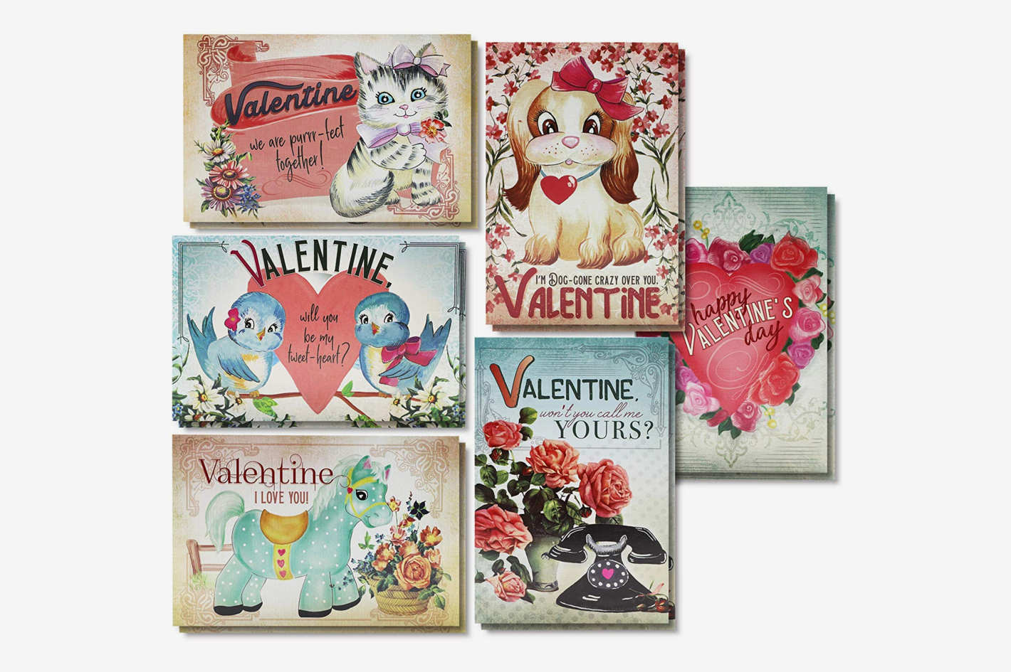 Sustainable Greetings 36-Pack Vintage Floral Designed Valentines Day Cards
