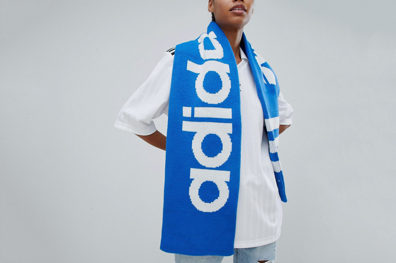 Adidas Originals Trefoil Logo Scarf In Blue