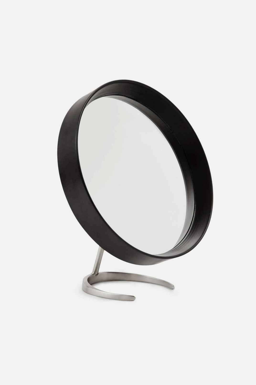 Tenfold New York Matte Black Round Mirror with Matte Nickel Stand